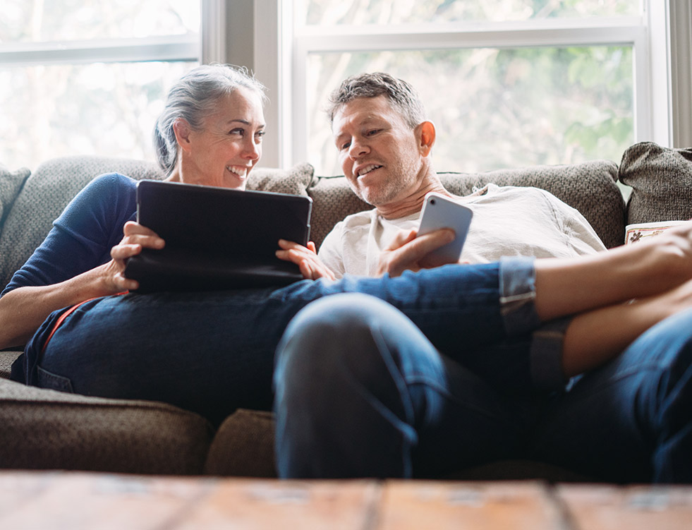Older couple looking into their financial future